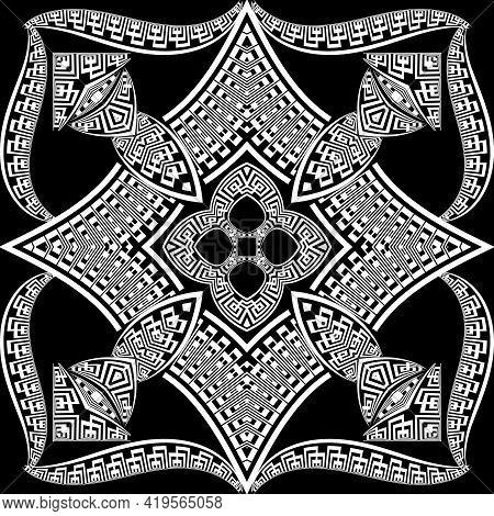 Modern Black And White Greek Seamless Pattern. Vector Geometric Background. Tribal Ethnic Backdrop.