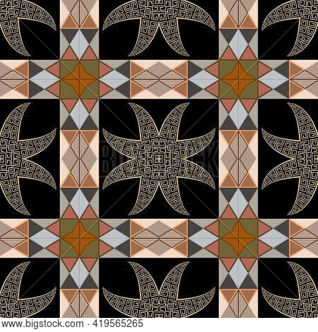 Geometric Tribal Ethnic Seamless Pattern. Vector Ornamental Greek Style Background. Colorful Repeat
