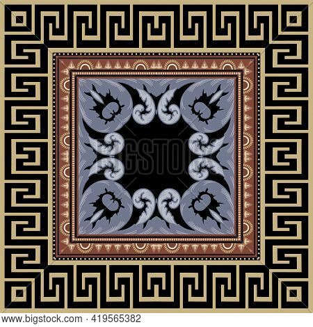 Greek Seamless Pattern With Square Frame. Vector Ornamental Background. Repeat Ornate Tribal Backdro