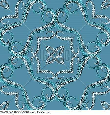 Braided Swirl Lines Floral Seamless Pattern. Ethnic Ornamental Vector Background. Repeat Decorative
