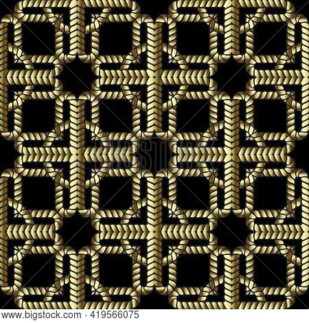 Gold Ropes 3d Seamless Pattern. Vector Ornamental Background. Repeat Intricate Abstract Ornaments. T