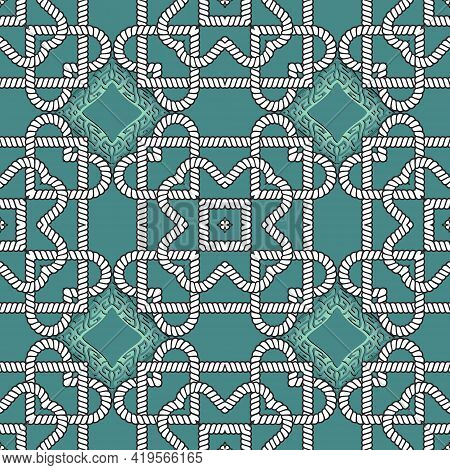 Ropes Seamless Pattern. Vector Ornamental Floral Background. Repeat Tribal Ethnic Style Greek Orname