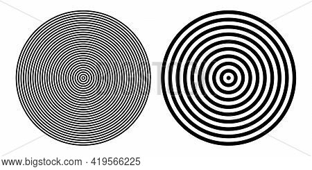 Circle Design Elements Set. Concentric Rings Patters. Vector Art.