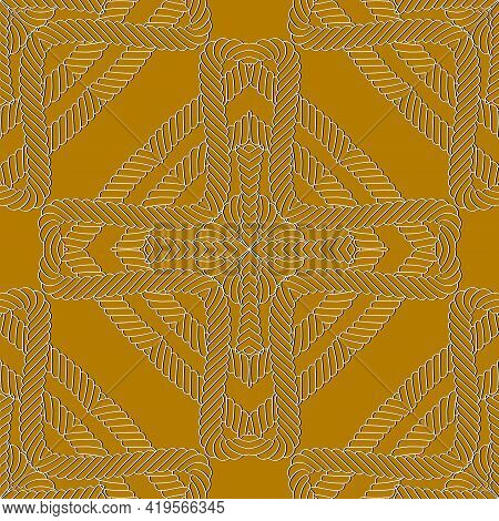Ropes And Strings Seamless Pattern. Modern Ornamental Lines Vector Background. Repeat Knitted Orname