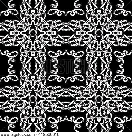 Ropes And Strings Seamless Pattern. Black And White Vector Background. Repeat Plaid Tartan Knitted O