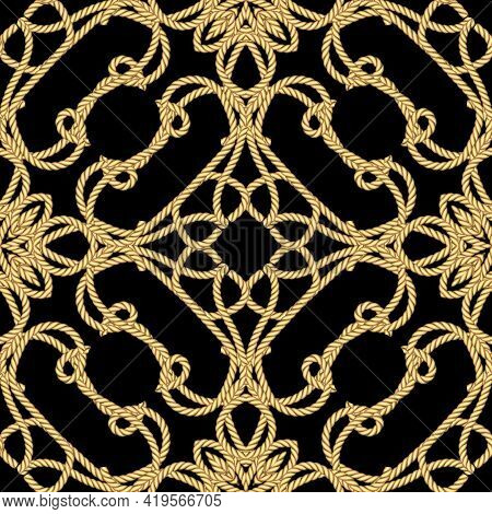 Ropes Seamless Pattern. Floral Ornamental Vector Background. Repeat Decorative Gold Strings Ornament