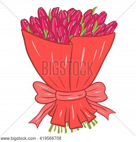 Lush Bouquet With Tulips. Bright Pink Flowers In Packaging, Vector. Postcard Element.