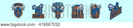 Set Of Hornets Logo Cartoon Icon Design Template With Various Models. Modern Vector Illustration Iso