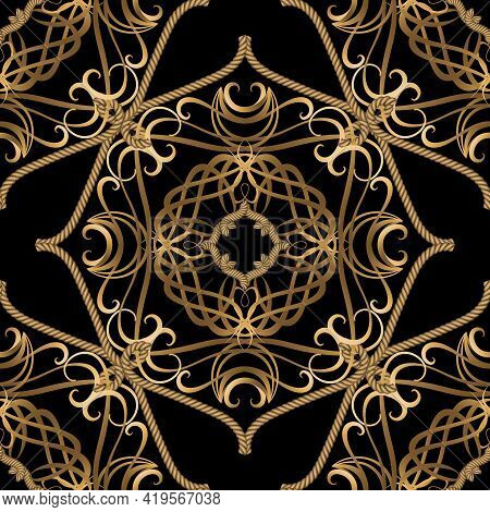Textured Luxury Seamless Pattern. Vintage Ornamental Ropes Background. Vector Gold Strings And Ropes