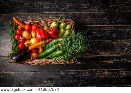 Basket With Fresh Fruits And Vegetables. Healthy Food, Natural Fruits And Vegetables