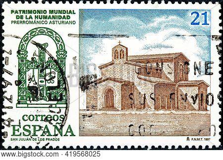 Spain - Circa 2001: A Stamp Printed In The Spain Shows The Basilica Of San Julian De Los Prados Or S