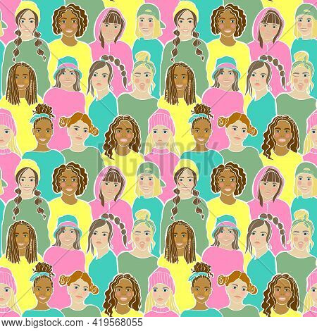 Childish Seamless Pattern. Trendy Pattern With Color Teens Hand Drawn Kids On Colorful Background Fo