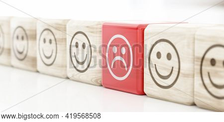 Sad Face Icon Emoticon On Red Wood Cube In A Row Of Happy Face Emoticons 3d Render Illustration