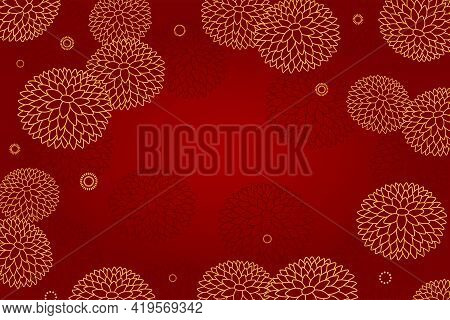 Traditional Asian Background, Chrysanthemum Flowers, Gold On Red, Copy Space. Oriental, Eastern Styl