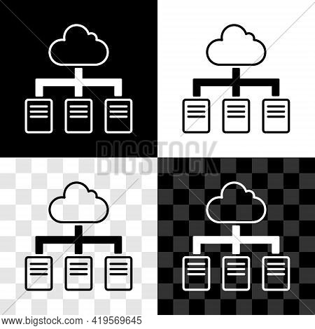 Set Online Working Icon Isolated On Black And White, Transparent Background. Freelancer Man Working