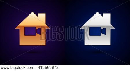 Gold And Silver Video Camera Off In Home Icon Isolated On Black Background. No Video. Vector