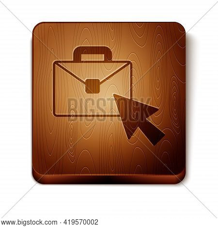 Brown Online Working Icon Isolated On White Background. Freelancer Man Working On Laptop At His Hous