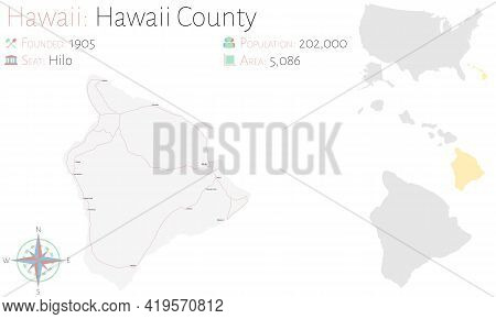 Large And Detailed Map Of Hawaii County In Hawaii, Usa.