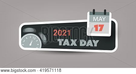 Tax Day Reminder Concept Banner  For Web Design - Usa Tax Deadline, New Extended Date For Irs Federa