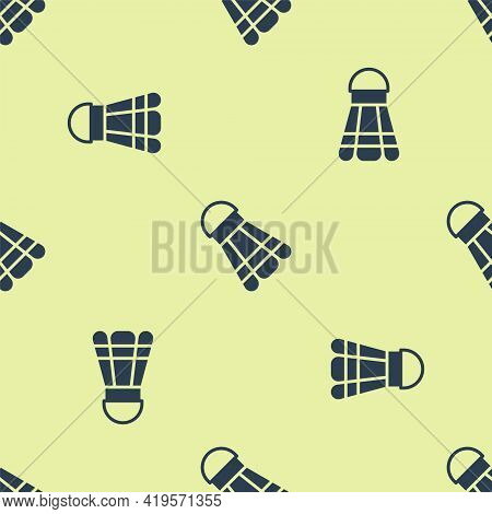 Blue Badminton Shuttlecock Icon Isolated Seamless Pattern On Yellow Background. Sport Equipment. Vec