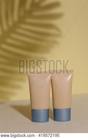 Foundation Face Make-up Samples. Set Of Cosmetic Liquid Foundation Or Bb Cream In Bottle Colour. Mak