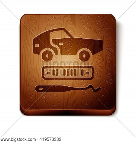 Brown Car Theft Icon Isolated On White Background. Wooden Square Button. Vector