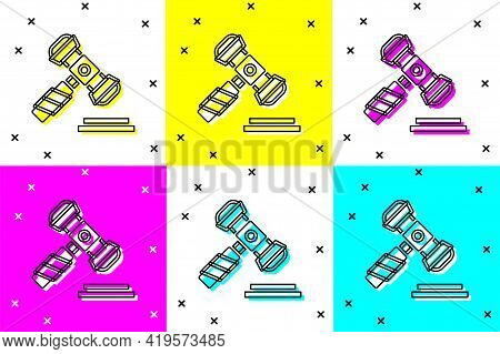 Set Judge Gavel Icon Isolated On Color Background. Gavel For Adjudication Of Sentences And Bills, Co