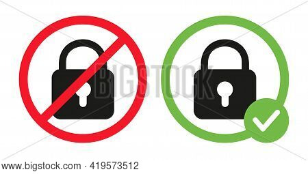 Lock Sign In Crossed Out Red Circle And Padlock In Green Circle. Protection Icons, Padlock Vector Fl