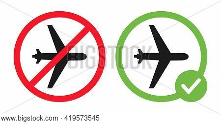 No Aircraft And Plane Allowed Vector Flat Illustration Isolated On White Background. Plane In Crosse
