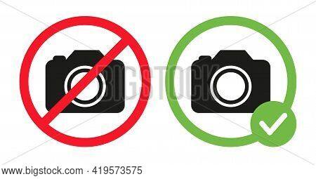 Camera Icons In Crossed Out Red Circle And Photo Camera In Green Circle. No Photography Prohibition