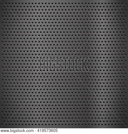 Silver Metal Texture With Round Holes And Reflection Chrome Surface. Circle Mesh Pattern Illustratio