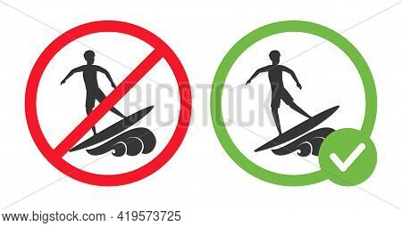 Allowed And Forbidden Surfing Signs Vector Flat Illustration Isolated On White Background. Man Rides