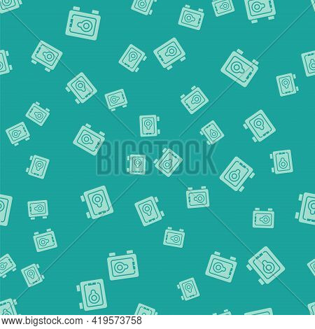 Green Safe Icon Isolated Seamless Pattern On Green Background. The Door Safe A Bank Vault With A Com