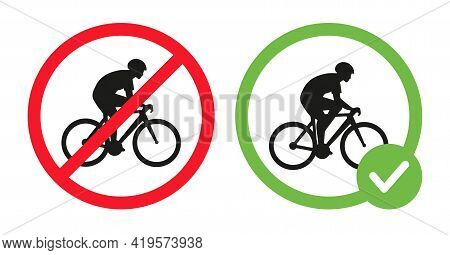 Cycling Prohibited And Riding Bikes Allowed Vector Flat Illustration Isolated On White Background. C