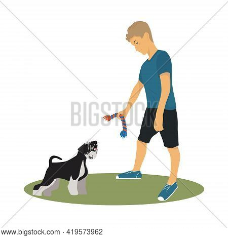 The Guy Is Playing With His Miniature Schnauzer. Vector Flat Style Illustration For Animal Shelter O