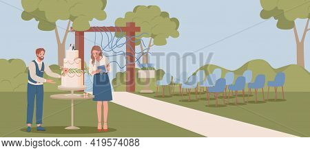 Wedding Planners Preparing Outdoor Scene For Wedding Ceremony Vector Flat Illustration. Man And Woma