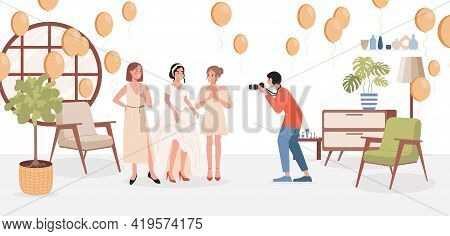 Bride Photosession Vector Flat Illustration. Happy Smiling Bride In Wedding Dress With Bridesmaids P