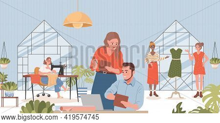 People Working In Sewing Atelier Vector Flat Illustration. Smiling Managers, Tailors, Dressmakers Ma