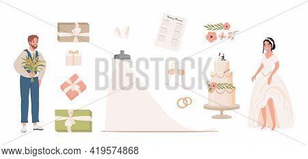 Wedding Vector Flat Illustration. Groom With Bouquet, Bride In White Wedding Dress, Wedding Planning