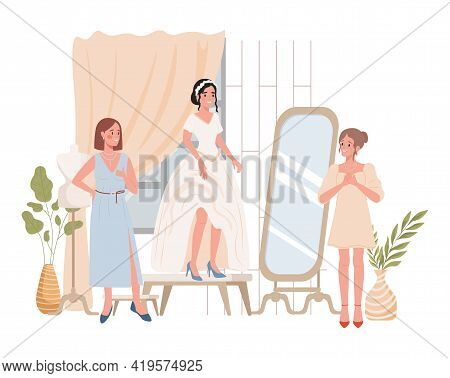 Happy Smiling Bride Trying On Wedding Dress Vector Flat Illustration. Bride With Her Friends Or Dres