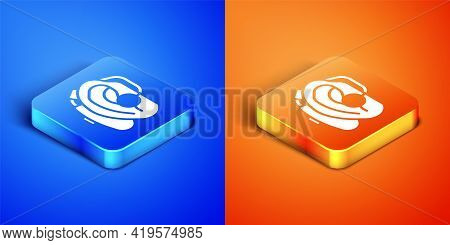 Isometric Hearing Aid Icon Isolated On Blue And Orange Background. Hearing And Ear. Square Button. V