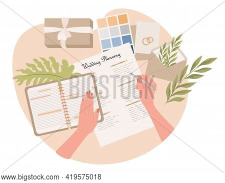 Wedding Planning Vector Flat Illustration. Woman Hands Writing Notes In Notebook About Wedding Cerem