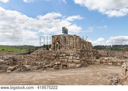 Kiryat Gat, Israel, March 27, 2021 : The Remains Of The Church Of St. Anne Of The Byzantine Period I