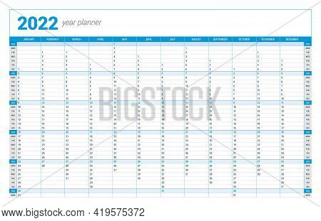 Calendar Yearly Planner Template For 2022. Printable Template. Week Starts On Sunday