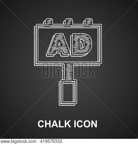 Chalk Advertising Icon Isolated On Black Background. Concept Of Marketing And Promotion Process. Res