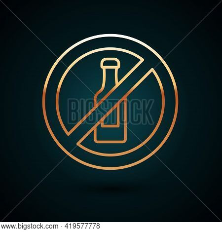 Gold Line No Alcohol Icon Isolated On Dark Blue Background. Prohibiting Alcohol Beverages. Forbidden