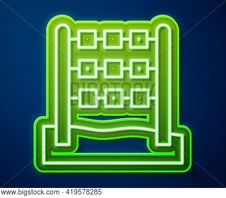 Glowing Neon Line Tic Tac Toe Game Icon Isolated On Blue Background. Vector