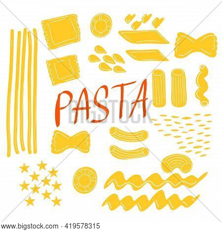 Pasta Shape Icons. Pasta Collection. Set Of Different Type Of Pasta.
