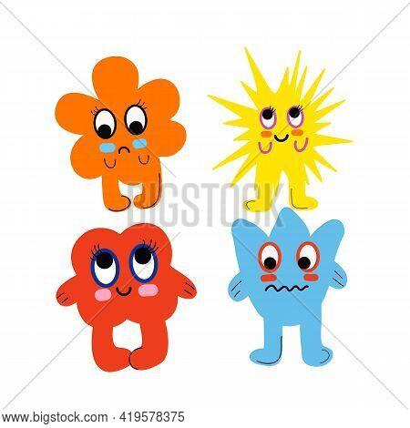 Cute Cartoon Monsters. Comic Halloween Joyful Monster Characters. Colorful Toy Cute Monster. Vector