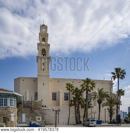 Jaffa, Israel - March 31st, 2021: A Side View Of The St. Peter's Church In Old Jaffa, Israel, On A P